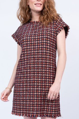 Chenille Houndstooth Shift Dress