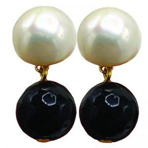 Jet Bead & Pearl Earrings