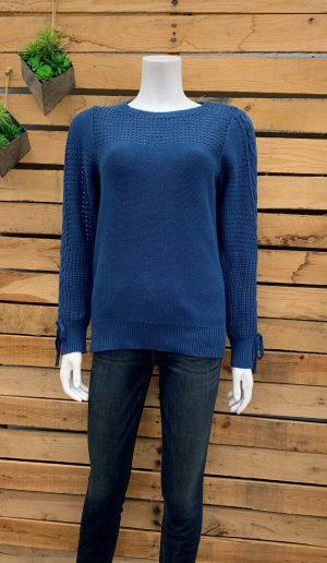 Cotton Sweater with Lattice trim on sleeve