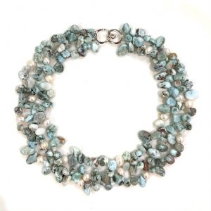 Larimar and Wild Pearl Triple Strand Necklace