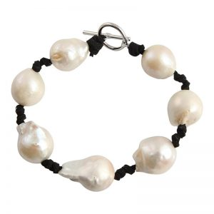 Knotty Pearl on Black Leather Bracelet