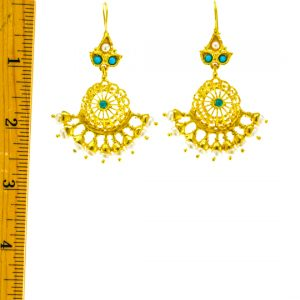 Filigree Earrings with Pearl and Turquoise Beads