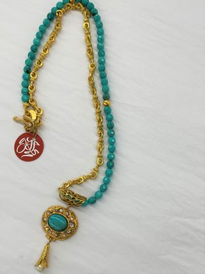 Necklace with Faceted Turquoise beads, Gold Links and Pendant