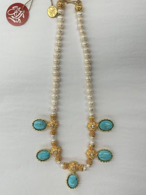 Pearl and Turquoise Necklace in Gold