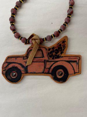 Vintage Red Truck Necklace