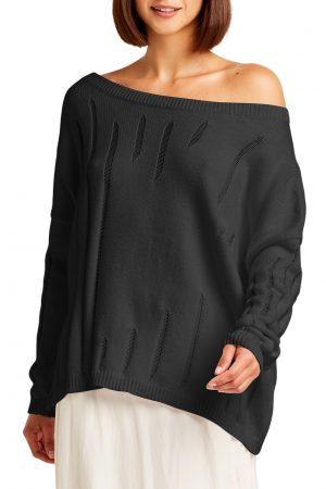 Pima Cotton Off The Shoulder Runs Sweater