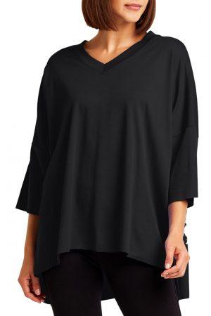 Black Pima Cotton Short Sleeve V-Neck Tee