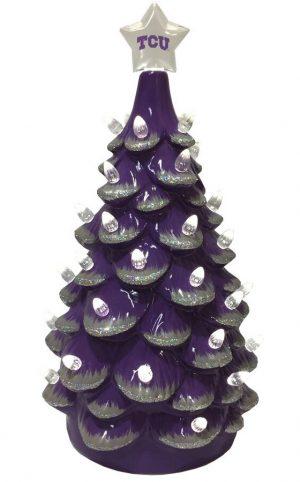 TCU Ceramic Christmas Tree with Lights