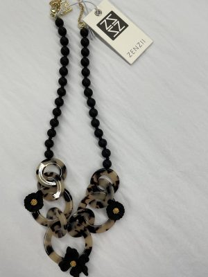Tortoise Necklace with Black Flowers