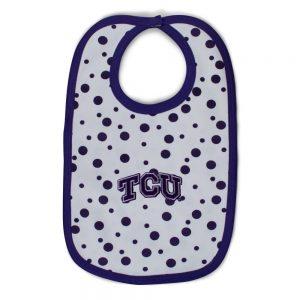 TCU Polka Dot Baby Bib