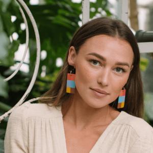 Plaid Horn Statement Earrings