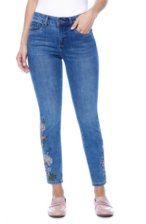 Olivia Slim Ankle with Floral Embroidery