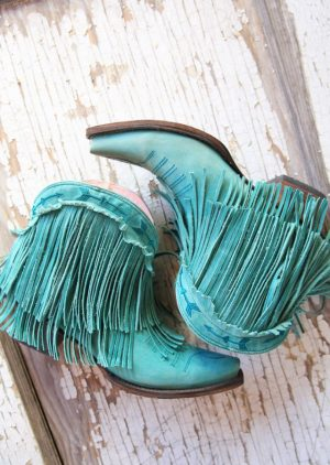 Spitfire Bootie in Turquoise by Lane Boot