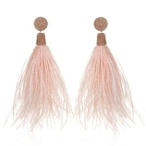 Blush Feather Tassel Earrings by Suzanna Dai