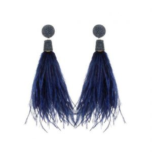 Navy Feather Earrings by Suzanna Dai