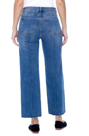 Olivia Wide Leg with Frayed Bottom Jeans