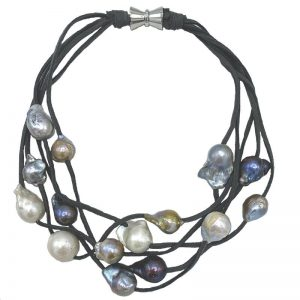 | 5-STRAND PEARLS ON SUEDE (Dark Mix on Gray)