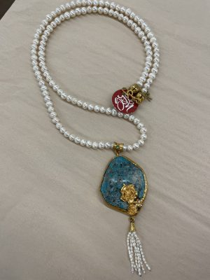 Long Pearl Necklace with a rough cut Turquoise drop