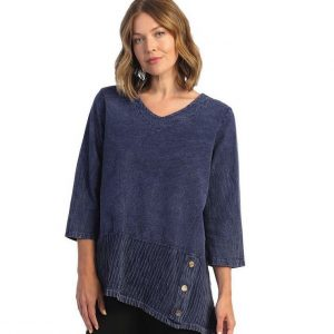 Plus Size Mineral Washed Crinkle Asymmetric Tunic